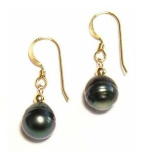 9-10mm Baroque Tahitian Black Pearl Dangle Hook Earrings in 14K Yellow Gold