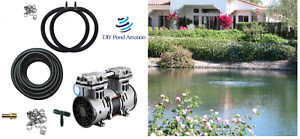 """Large POND Aerator System w/50' Poly Tube & 2-48"""" Diffusers 3+cfm NEW 1/2hp PUMP"""