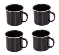 4 x Black Enamel Mug Camping Festival Stainless Steel Drinking Cup Travel Gift
