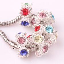 Fashion 5pcs Silver Czech big hole Beads Fit European Charm Bracelet DIY #D184