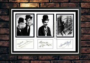 (351)  laurel hardy chaplin Lloyd signed photograph unframed/framed great gift @