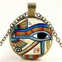 Vintage Egyptian EYE OF HORUS Cabochon Glass Bronze Pendant  Necklace