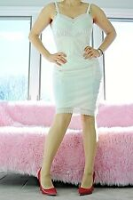 VTG Adonna Ivory Delicate Embroidered Lace Shadow Panel Full Slip Dress sz 34