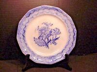 "Thomas Walker ""FLORA"" Flow Blue Plate Spatter Sponge Ware Rim Mid 1800's"