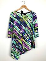 IC by Connie K Colorful Striped Textured Asymmetric Tunic Top Size Small S