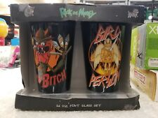 Rick and Morty Cups Pint Glass Glasses Set 16 oz, NIB, Adult Swim (11S)