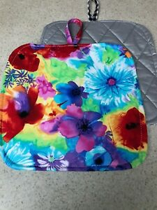 Pot Holder / Loop to Hang - Pretty Posies - Bright Multicolored - Handmade - NEW