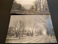 2 Vintage Main Street Dirt road Residences Fairport NY RPPC Photo Postcards