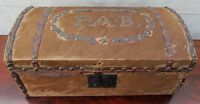 EARLY 19TH C COW HYDE COVERED ANTIQUE PINE STAGE COACH BOX SIGNED PROVIDENCE R.I