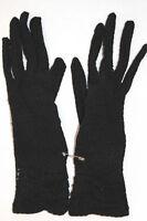 VINTAGE 1950'S COTTON BLACK LACE GLOVES SIZE 5-6