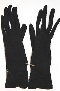 VINTAGE 1950'S COTTON BLACK LACE GLOVES SIZE 5-6