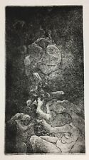 "Original Aquatint Etching on Paper Gothic Art ""Decent into Hell"""