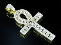 "3.80Ct Round Cut Diamond 14K Yellow Gold Finish Ankh Cross 2"" Pendant Charm"