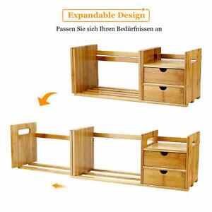 Schreibtischorganizer mit 2 Schubladen Aufbewahrungs Regal aus Bambusholz DE