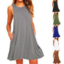Women Summer Sleeveless Solid Beach Casual Cocktail Sundress Tank Top Midi Dress