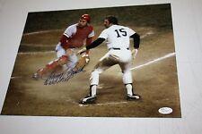 CINCINNATI REDS JOHNNY BENCH SIGNED 11X14 PHOTO W/MUNSON 1976 WS MVP JSA