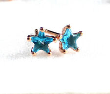 Chapado en Oro Rosa 5mm Azul Agua Champagne Pequeño Niña Estrella Dormilonas