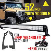 "52"" 700W CREE LED Work Light Bar Combo +Mount Bracket For Jeep Wrangler JK 07-18"
