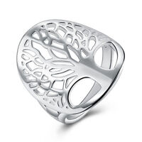New 925 Sterling Silver Filled Tree of Life Wedding Engagement Band Ring Jewelry