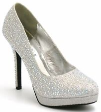 WOMENS LADIES HIGH HEEL SPARKLY DIAMANTE PARTY BRIDAL WEDDING COURT SHOES 3-8