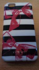 VICTORIA'S SECRET strisce e fiocchi TELEPHONO CASE I PHONE 6 Custodia Nero Bianco Rosa
