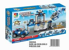 Woma Polizeistation m. Helikopter + Auto 10 in 1 Bausteine Set 330 Teile 35043