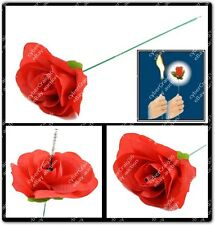 FLAMING FIRE TORCH TO RED ROSE FLOWER BURN FLAME MAGIC TRICK LIGHT STREET CHANGE