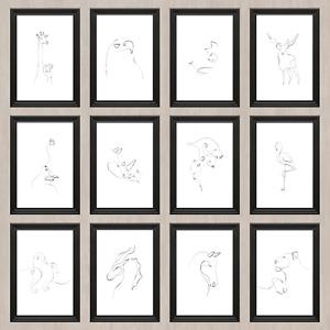 One line prints,Animal one continuous line prints minimalist design posters