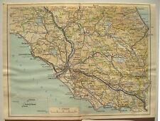 stampa antica mappa ITALIA CENTRALE ROMA ANZIO RIETI VITERBO FROSINONE TERNI