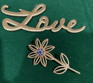 Authentic Tiffany & Co. Vintage Sapphire 18k Yellow Gold Flower Brooch Italy
