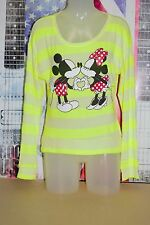 DISNEY Mickey Mouse Minnie Striped Sweater Heart Hands True Love L