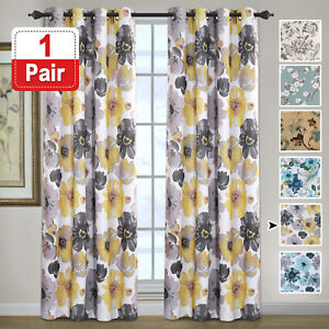 Blockout Curtains Pair Bedroom Living Room Vintage Floral Eyelet Curtains