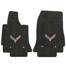 Corvette 2014+ 2Pc Car Floor Mats Carpet Black Ebony Ultimat C7 Logo