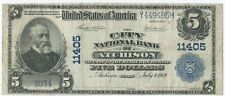 Series of 1902 $5 City National Bank of Atchison, Kansas CH#11405, Plain Back.