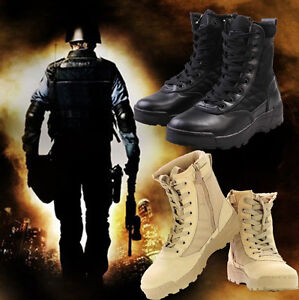 Men Military Tactical Combat Desert Boots High Top Army Battle Hiking Shoes Gift