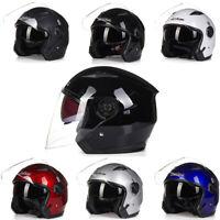 Open Face Motorcycle Helmet Dual Visor Unisex Half 3/4 Jet Helmet M/L/XL/XXL