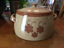 "vintage 8"" covered brown MEXICO baking dish,Palomar pottery"