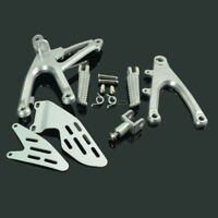 Silver Front Rider Foot Pegs Pedals Footrest Bracket Set For Yamaha YZF R1 07-08