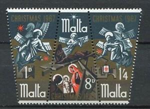 29782) Dealer Stock Malta 1967 MNH New Christmas 3v Strip (X10 Sets)