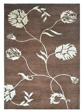5'x 8' Rug | Modern Rug Hand Knotted Wool & Viscose Brown White Blue Area Rug