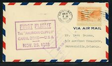 Canal Zone First Flight Cover LOT #11 CZSG 111 1931 American Clipper COLOMBIA $$