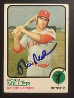 Norm Miller Astros Signed 1973 Topps Baseball High # Card #637 Auto Autograph 2