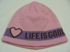 LIFE IS GOOD - PINK & PURPLE - GIRLS SIZE 5-10T - STOCKING CAP BEANIE HAT!
