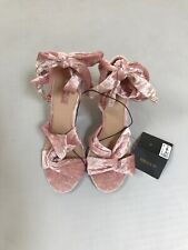 Forever 21 Velvet Wrap Shoes Heels Pink Chunky Heels NEW NWT size 9