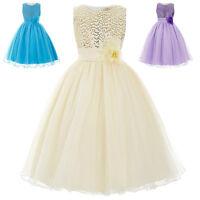 Age 2 -12 Flower Girl Dress Formal Evening Wedding Party Bridesmaid Dresses Blue