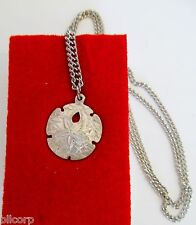 Pewter Small Sand Dollar Charm Necklace, Nautical