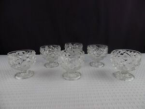 Vintage Pressed Clear Glass Brandy Snifters 4 oz Set of 6
