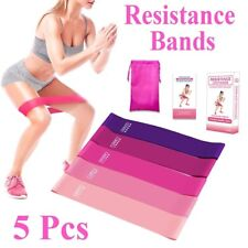 5 X Resistance Loop Bands Set Strength fitness Gym exercise Yoga workout Pull Up