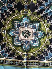 """Vera Bradley 100% Silk Square Multi-color Blue Scarf 27"""" x 27"""" Green"""