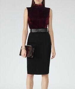 REISS burgundy claret stretch velvet turtle neck FLORA top XS 8 sleeveless